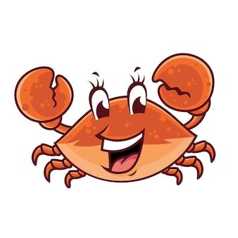 Disegno sorridente della mascotte del granchio