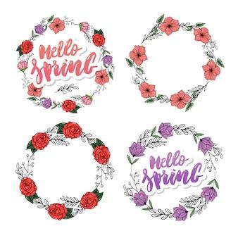 Disegno stabilito di vettore della corona del fiore della primavera bello