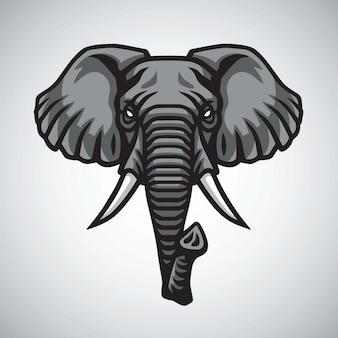 Disegno superiore di vettore della mascotte di logo della testa dell'elefante
