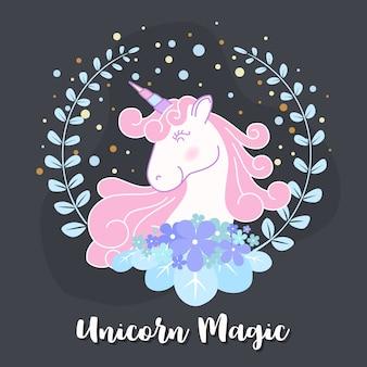 Disegno sveglio dell'illustrazione della corona del fiore e di unicorno