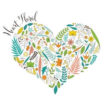 Disegno sveglio di figura floreale del cuore isolato su priorità bassa bianca. amore e natura