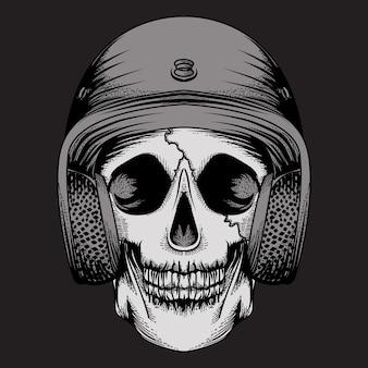 Disegno tatuaggio e maglietta teschio casco design premium