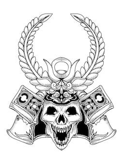 Disegno tatuaggio e maglietta teschio samurai premium
