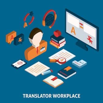 Disegno traduttore sul posto di lavoro