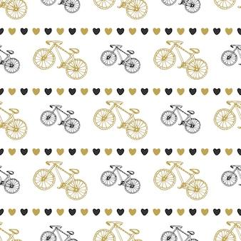 Disegno trasparente senza soluzione di continuità a mano con biciclette e cuori in colori neri e oro