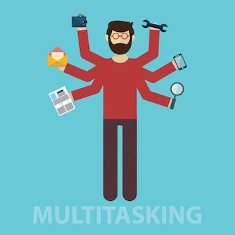 Disegno uomo multitasking