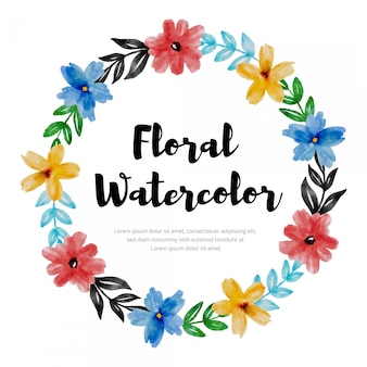 Disegno variopinto della corona del fiore floreale dell'acquerello