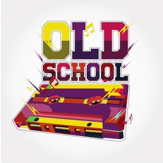 Disegno variopinto di vettore di musica della vecchia scuola
