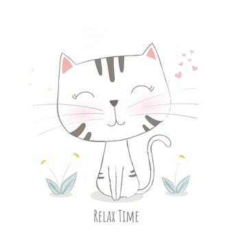 Disegno vettoriale carino gatto.