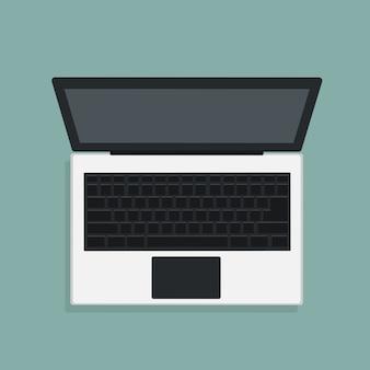 Disegno vettoriale del moderno computer portatile in vista dall'alto