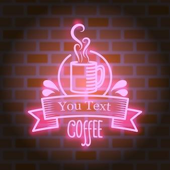 Disegno vettoriale di caffè al neon luminoso