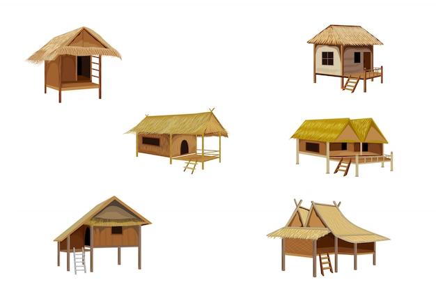 Disegno vettoriale di capanna di paglia