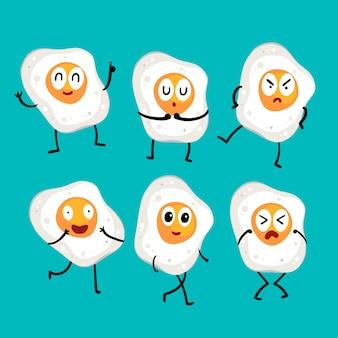 Disegno vettoriale di carattere uovo fritto