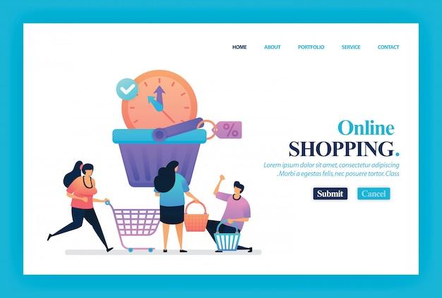 Disegno vettoriale di landing page dello shopping online