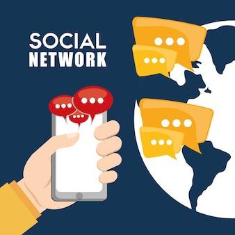 Disegno vettoriale di rete sociale