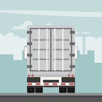 Disegno vettoriale di rimorchio container esportazione. logistica dei trasporti