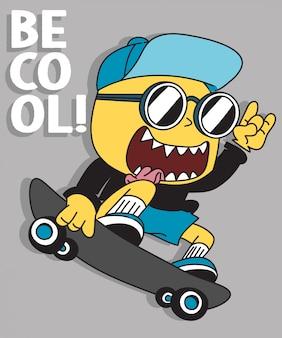 Disegno vettoriale di skateboard mostro