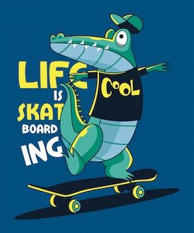 Disegno vettoriale di skateboarder coccodrillo