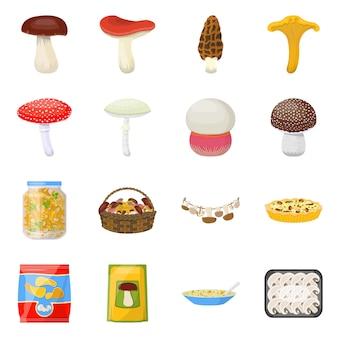 Disegno vettoriale fungo e icona dell'alimento. impostare funghi e brodo fresco.