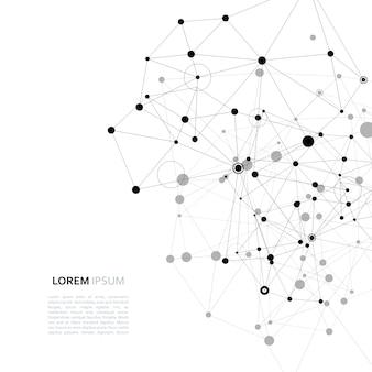 Disegno vettoriale moderno con elementi di legami molecolari