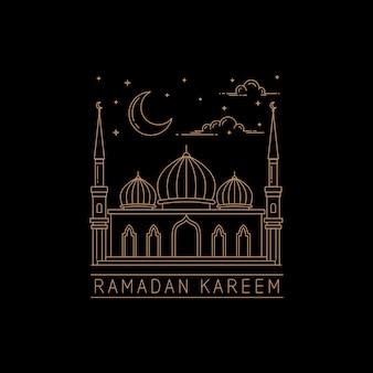 Disegno vettoriale moschea di linea mono stile