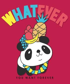 Disegno vettoriale panda disegnato a mano per la stampa t-shirt