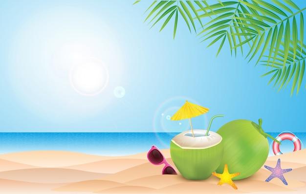 Disegno vettoriale tropicale di estate per banner o poster con foglie di palma esotiche, anguria e fenicottero