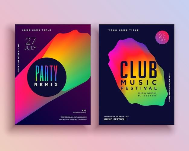 Disegno vibrante del modello del flyer del partito di musica