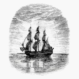 Disegno vintage di nave a vela