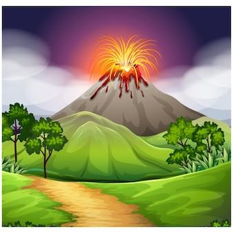 Disegno vulcano sfondo