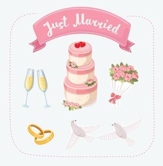 Diserbo imposta icone nello stile del fumetto. grande raccolta dell'illustrazione delle azione di simbolo di nozze