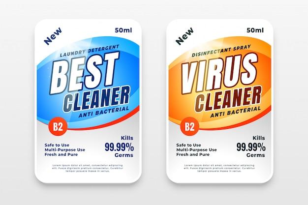 Disinfettante e detergente etichette modello design set