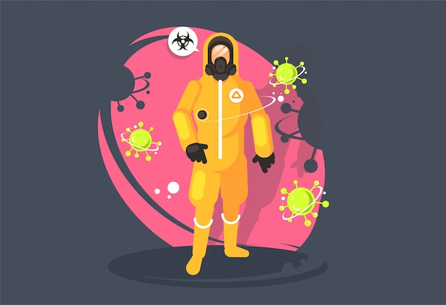 Disinfettante in una tuta di protezione chimica. protezione dal virus. rischio biologico.