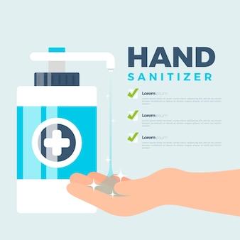 Disinfettante per le mani dal design piatto