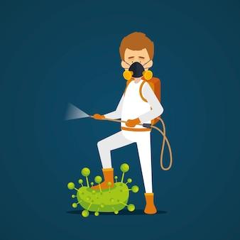 Disinfezione da virus in design piatto