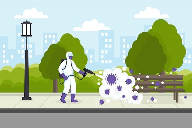Disinfezione del virus della corona dell'illustrazione delle strade di città