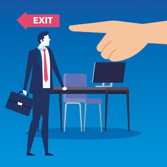 Disoccupato dell'uomo d'affari triste nella scena del posto di lavoro