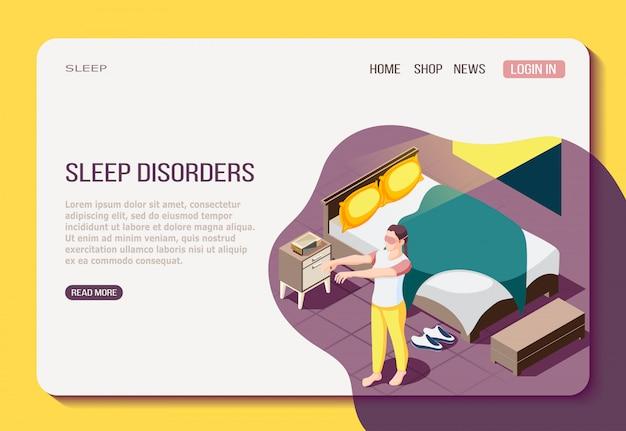 Disordine della notte che riposa pagina web isometrica con la ragazza durante la camminata nel sonno
