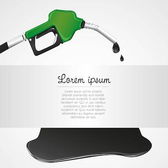 Dispenser di petrolio che perde con spazio per il testo