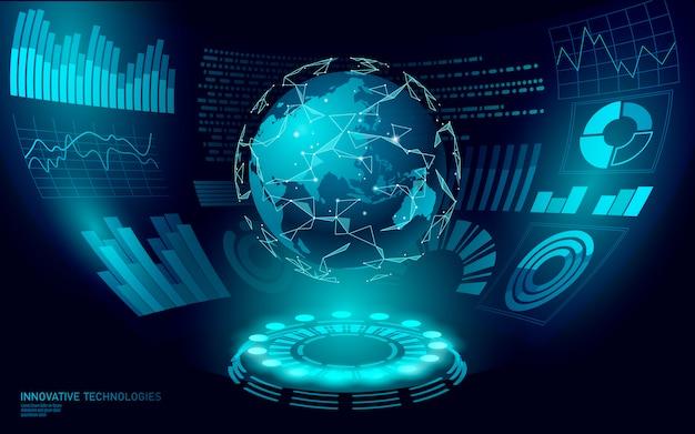 Display dell'interfaccia utente hud 3d in realtà virtuale a basso poli pianeta terra. tecnologia futura poligonale comunicazione internazionale globale. illustrazione blu della mappa di mondo asia cina giappone indonesia