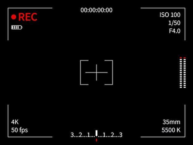 Display della fotocamera. mirino che registra la messa a fuoco della fotocamera video schermo cattura foto di film linee frame finder viewer, modello nero