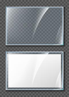 Display in vetro. manifesto in bianco nel telaio di vetro realistico isolato su sfondo trasparente. poster acrilico da parete trasparente