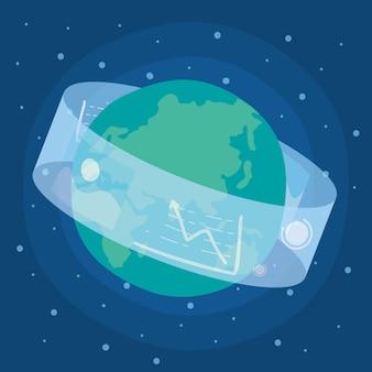 Display tecnologico virtuale di realtà interattivo con il pianeta terra