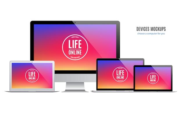 Dispositivi: laptop e monitor del computer con schermo colorato isolato su sfondo bianco.