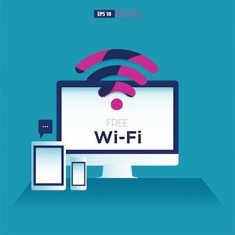 Dispositivi per computer, tablet e smartphone con il simbolo wifi gratuito.