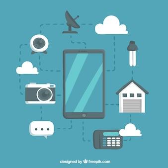 Dispositivi tecnologici con design piatto