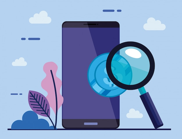 Dispositivo dello smartphone con l'illustrazione della lente d'ingrandimento e della moneta