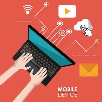 Dispositivo mobile rosso poster