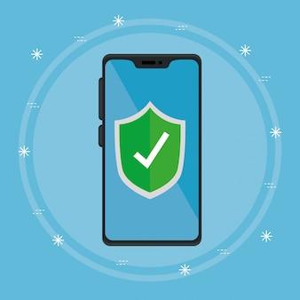 Dispositivo smartphone con disegni illustrazione scudo sicuro