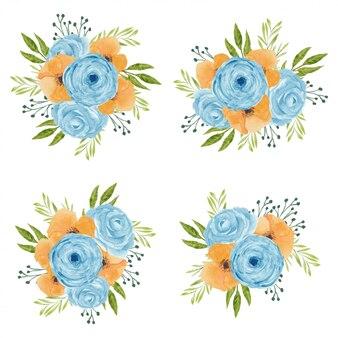 Disposizione dei fiori dell'acquerello dell'annata